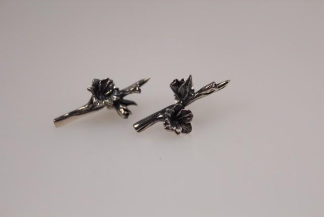 Zilveren gladiool oorstekers nr 9