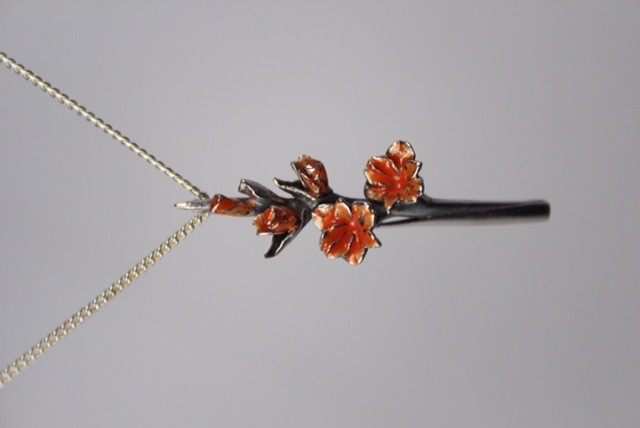 Zilveren gladiool Oranje groot Nr 7