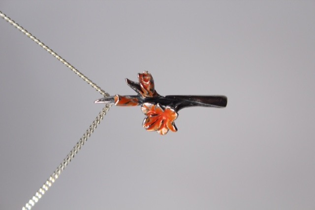 Zilveren vierdaagse gladiool oranje klein Nr 6