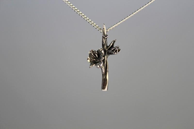 Zilveren gladiool hanger klein Nr 4